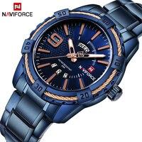 NAVIFORCE Top Brand Luxury Men Watches Blue Waterproof Date Week Quartz Watch Man Full Steel Fashion
