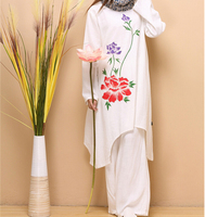 Spring Autumn Style Literary Freehand Peony Pure Linen Dress Turtelneck Graceful White Long Sleeve Dress Trench