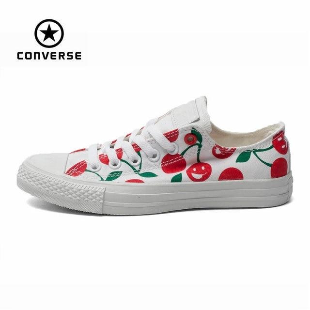 Asli Converse Semua Bintang Sepatu Rendah Wanita Sneaker Tangan Lukis  Coretan Putih Wanita Sepatu Kanvas Papan dc55c28964