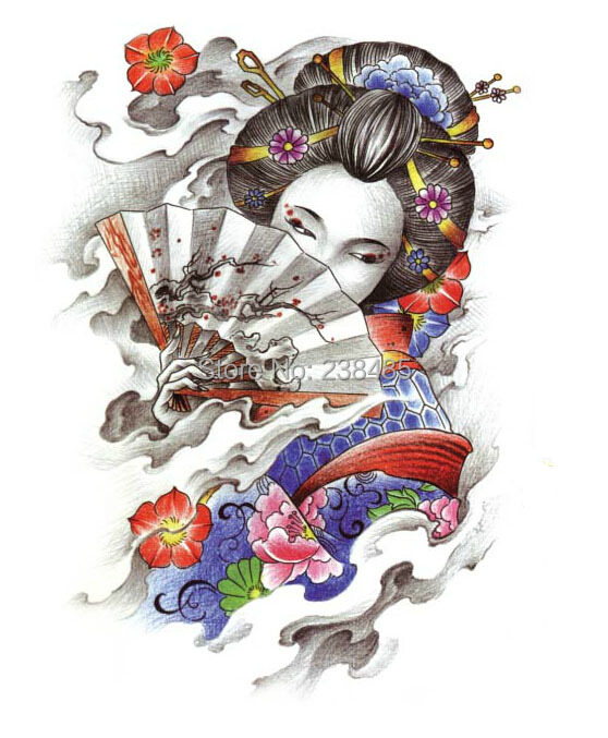 Temporary Tattoo Geisha Girl Tattoo Stickers Sexy Beauty