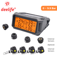 Tire Pressure Monitoring System TPMS Sensor Solar Car Security Smart Tyre Control Wireless 4 Wheels External Internal Sensors careud t801 nf auto car tpms tire pressure solar panel monitoring system with 4 internal sensors