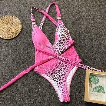 Sexy Pink Leopard Swimsuit Swim Women Bandage Monokini Push Up Swimwear 2020 Brazilian Backless Bathing Suit One Piece Suit 5
