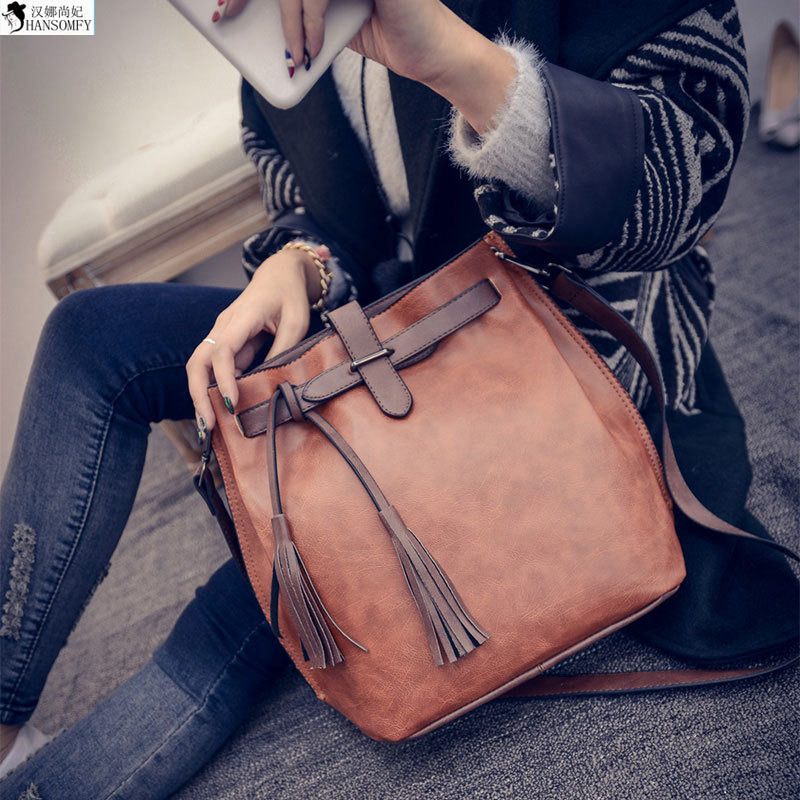 HANSOMFY  The Big European And American Runway Tassel Bucket Bag Lady Shoulder Messenger Bag Retro