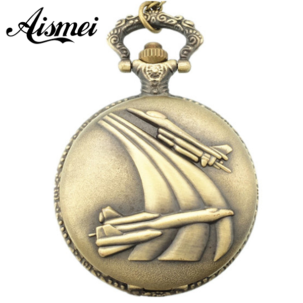 2018 Vintage Bronze Retro Airplane Plane In The Sky Pocket Watch With Chain Necklace For Men 5pcs/lot
