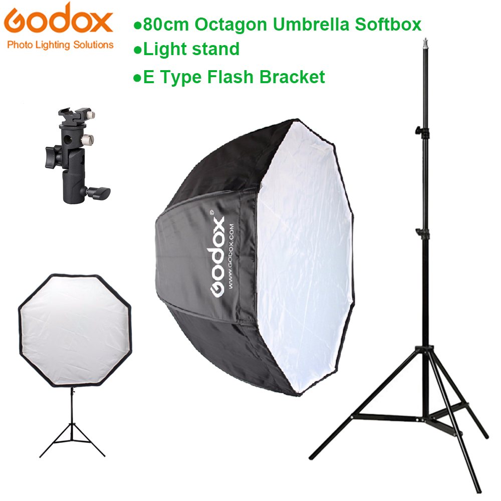 Godox 80cm octagon umbrella softbox Light stand umbrella Hot shoe bracket kit for Flash Speedlite