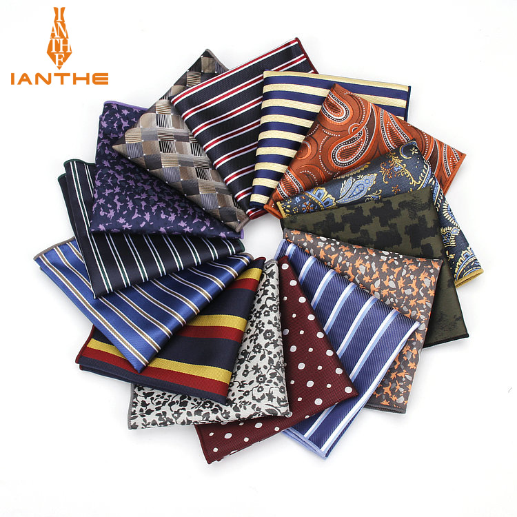Luxury Men's Handkerchief Polka Dot Striped Floral Polyester Hankies Man Hanky Business Pocket Square Chest Towel Pocket Square