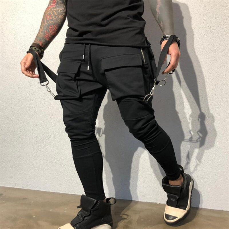 New Side Pockets Pencil Pants Men's Hip Hop Patchwork Cargo Ripped Sweatpants Joggers Trousers Male Fashion Full Length Pants(China)