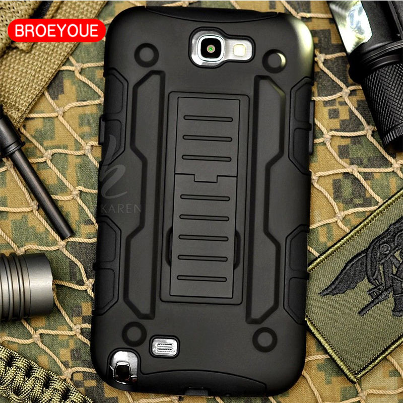 BROEYOUE For Samsung Galaxy Note 2 Case Rugged Armor Hard Case for Samsung Galaxy Note 2 N7100 Luxury Armor Cover Cases Coque