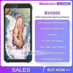 "Image 2 - Blackview BV5500 IP68 Waterproof Rugged Smartphone 2GB+16GB 5.5"" 18:9 Screen 4400mAh Android 8.1 3G Mobile Phone GPS"