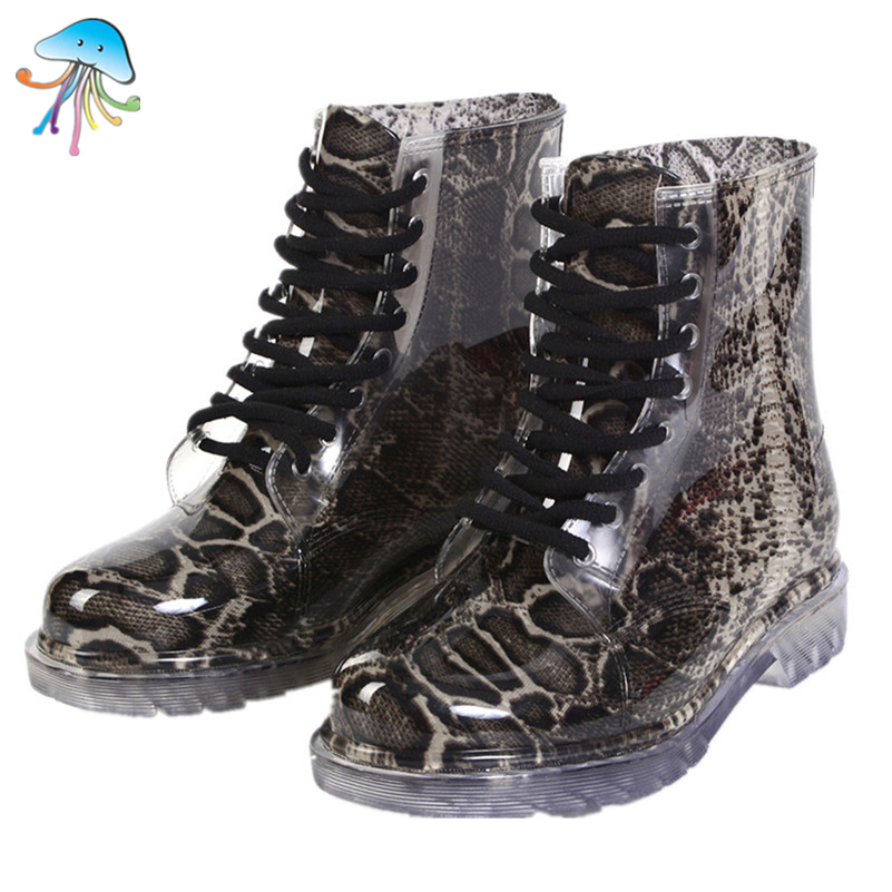 Lace Up Women 39 S Rain Boots Water Resistant Rain Shoes Snake Skin Printed Waterproof Ladies