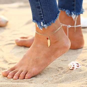 Blue Stone Bead Antique Silver Anklet 1
