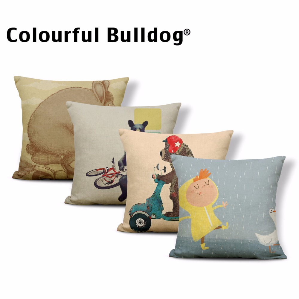 Cartoon Animal Throw Pillowcases Battery Bicycle Sloth Bear Bird Cushion Cover Forest Mo ...