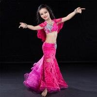 Модные милые Кружево с коротким рукавом сексуальный живот Танцы топ и юбка 2 шт. Комплект для девочки/Kid/детей, качество костюма Производител