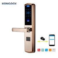 Приложение дистанционного e key отпечатков пальцев и цифровой RFID умный дверной замок, несколько функций и комбинации разблокировки для дома