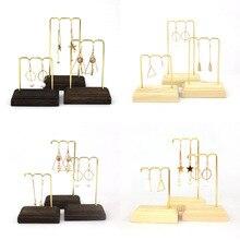 Retro Sturdy Wooden Metal Ear Ring Eardrop Jewelry Dangler Display Stand Bracelet Earrings Anklet Hanger Organizer Rack Showcase