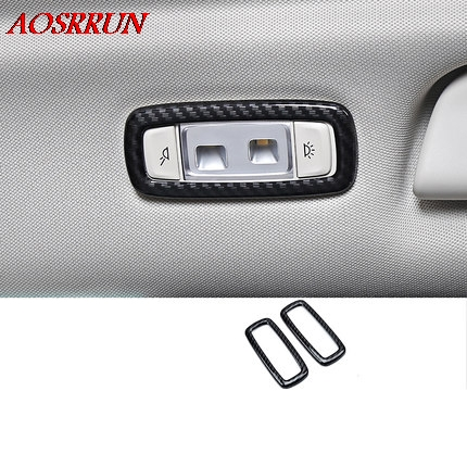 ABS carbon fiber Reading Light Cover trim decoration strips Interior roof Lamp Frames car <font><b>accessories</b></font> For <font><b>bmw</b></font> <font><b>x3</b></font> g01 <font><b>2017</b></font> 2018 image
