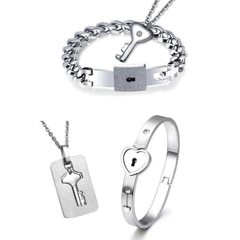 ffc0a6b1a A Set Stainless Steel Love Heart Lock Key Couple Bracelet Necklace for Women  Men Lover Jewelry