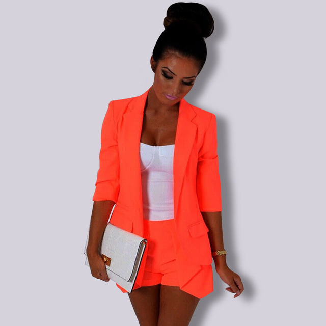 Autumn Ladies Formal Silm Blazer Jacket Women's Candy Color Orange Red Female Single Breasted Office Suit Coat