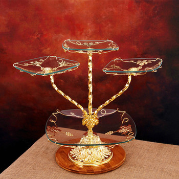 European Luxury Glass Fruit Snack Three-layer Cake Stand Plate
