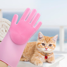Silicone Dog Brush Glove Bath Cleaning Grooming Pet Brush Dog Bathing Glove Puppy Hair Combs Cat Pet Grooming Glove(China)