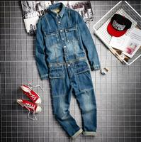 2019 spring and autumn hairstylist fashion denim jumpsuit men's Japanese retro tooling jumpsuits HIPHOP men's casual jumpsuit