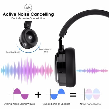 New Bee ANC Headset Active Noise Cancelling Bluetooth Headphones With Wireless Charging Foldable Earphone With Dual Mic NFC
