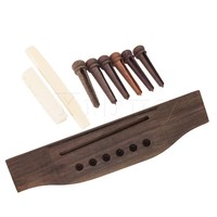 Acoustic Guitar Set Bone Saddle Nut Rosewood Bridge Pin And Bridge Replacement