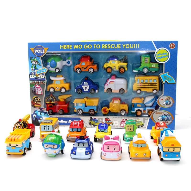 12pcs/Set Korea Robocar Poli Korea Toys Robot Poli Amber Roy Pull Back Car Toys Anime Action Figure Toys Best Gifts For Children