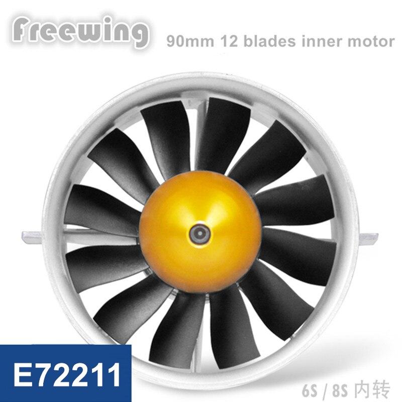 Oyuncaklar ve Hobi Ürünleri'ten Parçalar ve Aksesuarlar'de Freewing E72211 90 MM metal EDF seti 12 blade kanallı fan 6 s 8 s Iç fırçasız motor RC Modeli için'da  Grup 1