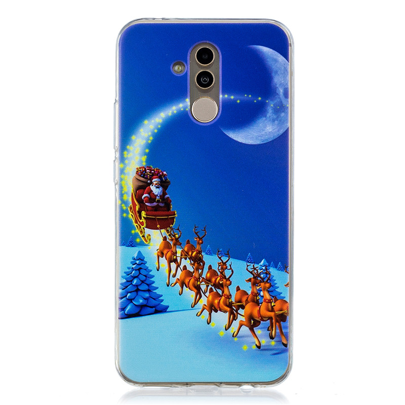 Christmas Festival Series Boots Merry Pattern TPU Soft Silicone Transparent Shockproof Back Cover For Huawei Mate 20 Lite Shell