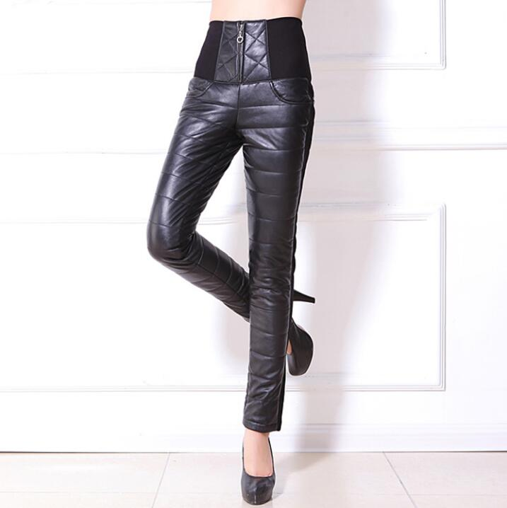 Women Slim Sheep Skin Leather Pants Trousers Female Pencil Pants Thickening Winter Warm Genuine Leather White Duck Down Pants