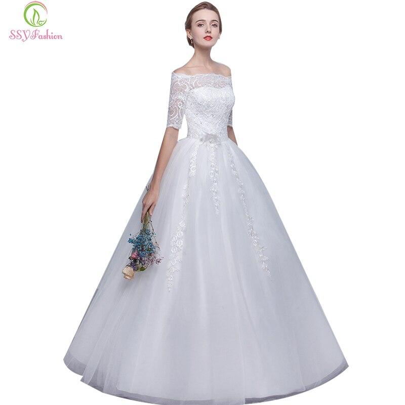 Simple Wedding Dresses Boat Neck: SSYFashion New Wedding Dress Bride Elegant Simple White