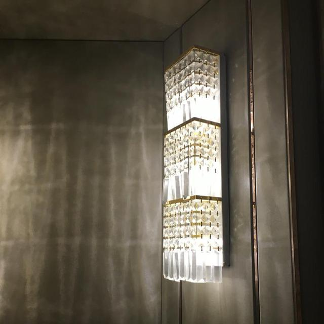 Italian Style Novelty Contemporary Gorgeous Crystal Large Wall Lamp Indoor Light Led Sconce Hotel
