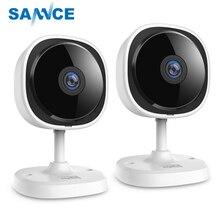 SANNCE cámara IP de ojo de pez HD 1080P, cámara de seguridad para el hogar, inalámbrica, Wifi, Mini cámara de visión nocturna, IR, corte, Wi Fi, Monitor para bebés, 2 piezas