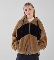 2018 autumn and winter imitation lambskin brown coat jacket Women's Clothing COATS hooded stitching warm coats and jackets women