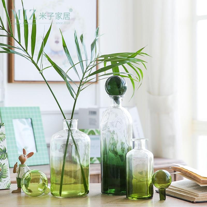 miz 1 piece green bottle glass vase original design desk accessory glass vase decor home garden. Black Bedroom Furniture Sets. Home Design Ideas
