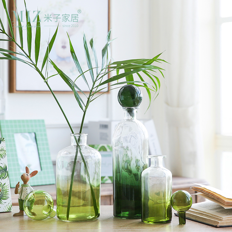 Miz 1 Piece Green Bottle Glass Vase Original Design Desk Accessory Glass Vase Decor Home Garden Decoration Refreshing Interior
