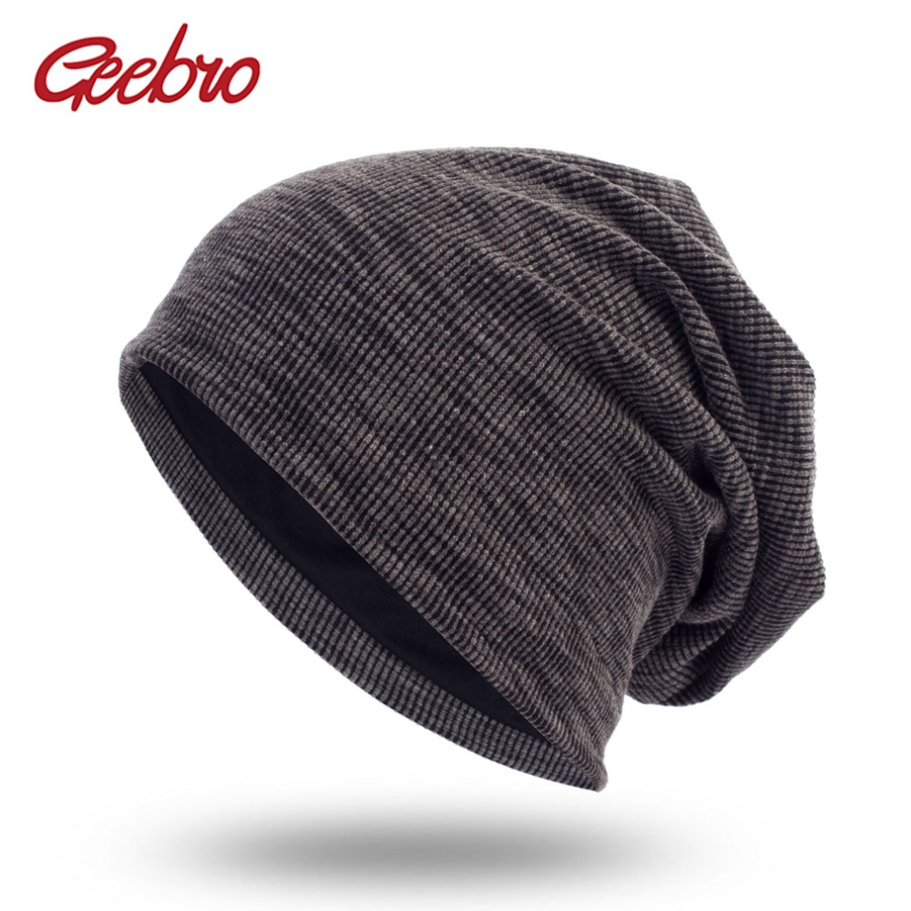Geebro Men Women Knitted Ribbed   Beanies   Hat Spring Cap Solid Color Hip-hop Slouch Hats Unisex   Skullies   chapeu feminino DQ400A