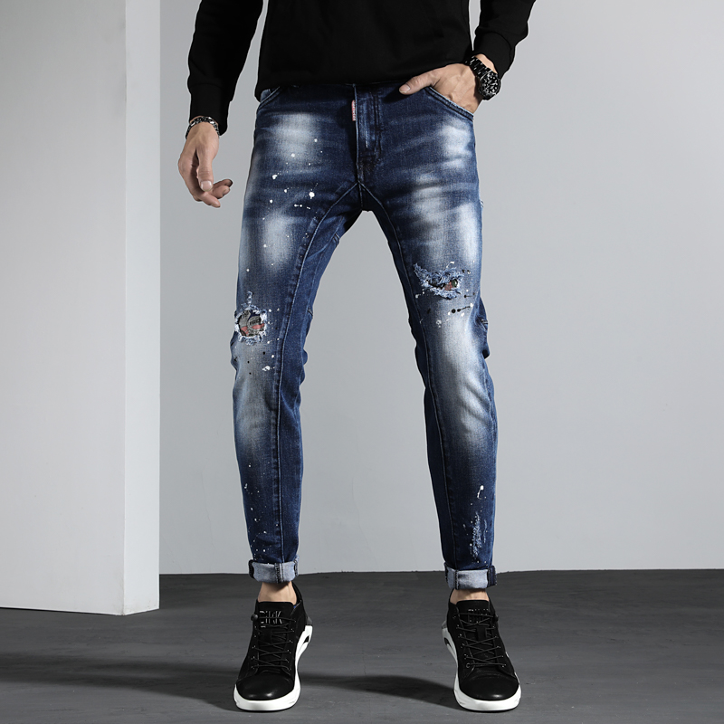 New Torn ripped   jeans   for men paint skinny   jeans   men elastic stretch pants clothes trousers hip hop streetwear Winter Autumn