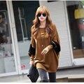 Manga del palo de la ropa de la vendimia de las mujeres tops camisa blusa de las mujeres de tejido 65% algodón 35% Lana t-shirt femme plus tamaño coreano ropa