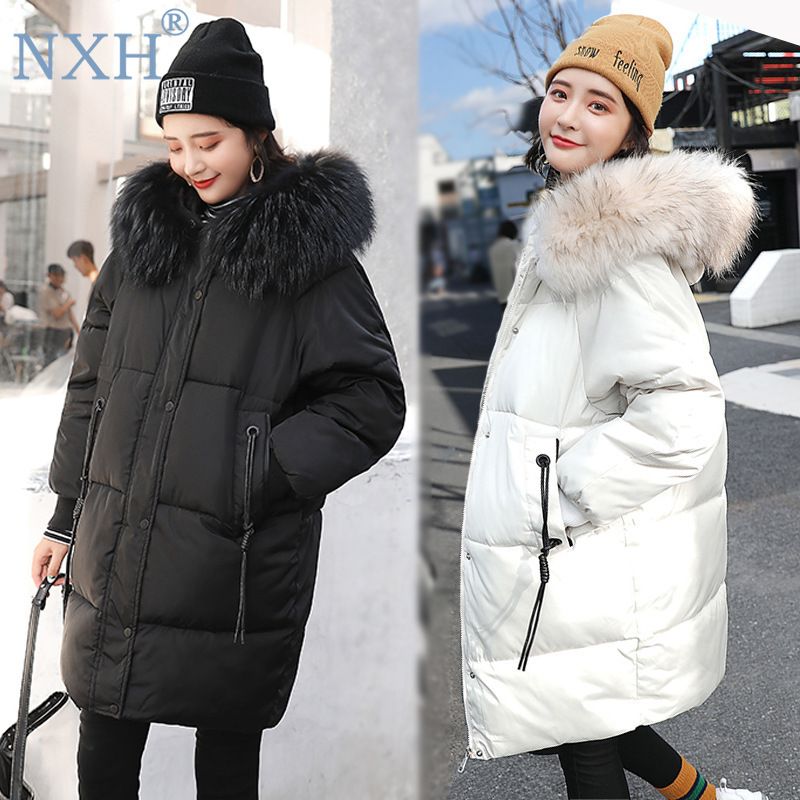 NXH Big size Womens winter thick jacket with fur hooded lady long coat plus size woman clothes   parka   100KG Solid Streetwear