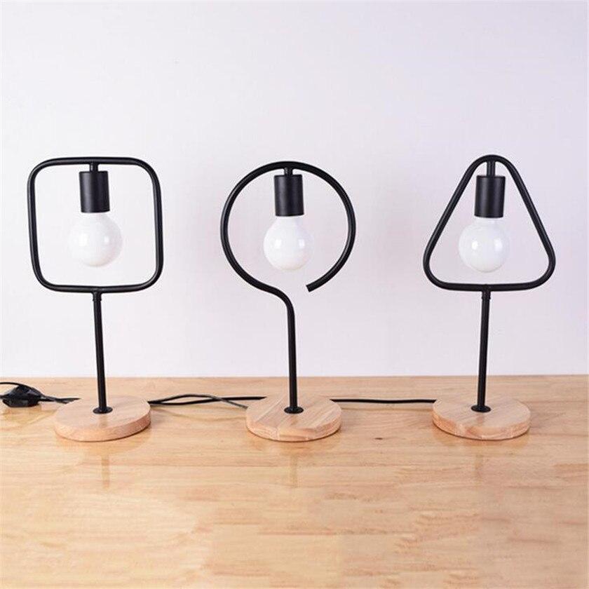 где купить Modern Wooden Table Lamp E27 LED Desk Lamp Book Lights Lampara de mesa Metal Retro Home Lighting Bedroom Restaurant Decoration по лучшей цене