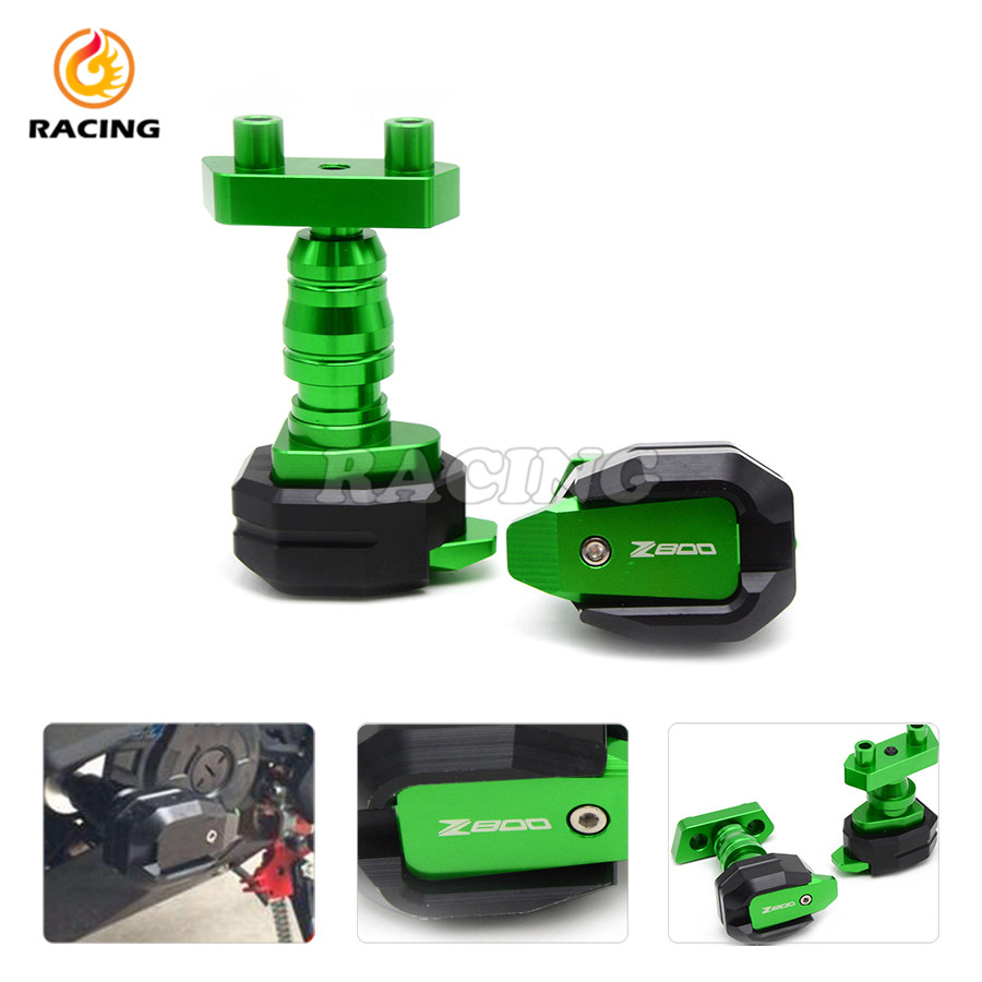 ФОТО New style Motorcycle Aluminum Green Motorbike Left and Right Frame Sliders Anti Crash Protector for KAWASAKI Z800 2013 2014 2015