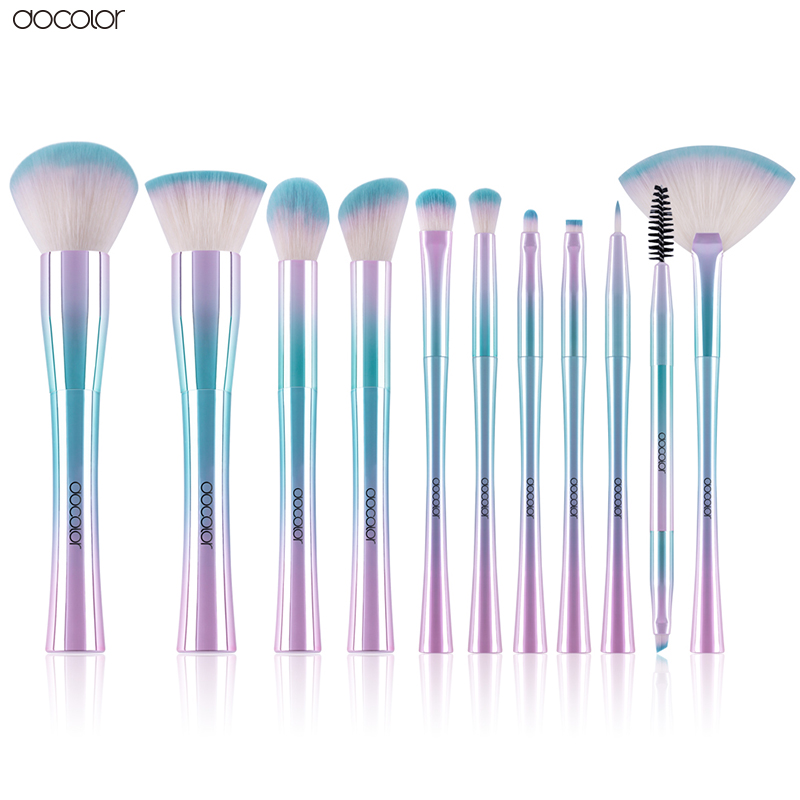 Docolor 11 pcs Makeup Brushes Fantasy Kabuki Powder Blending Brush Eyeshadow Cosmetics Tools Set