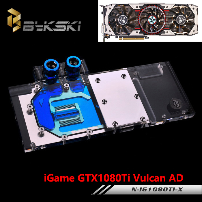 BYKSKI Full Cover Graphics Card Water Cooling GPU Block use for COLORFUL iGame GTX 1080 Ti Vulcan AD N-IG1080TI-X with RGB Light bykski full cover graphics card water cooling gpu block use for gigabyte gtx1080 xtreme gaming n gv1080xt x with rgb light