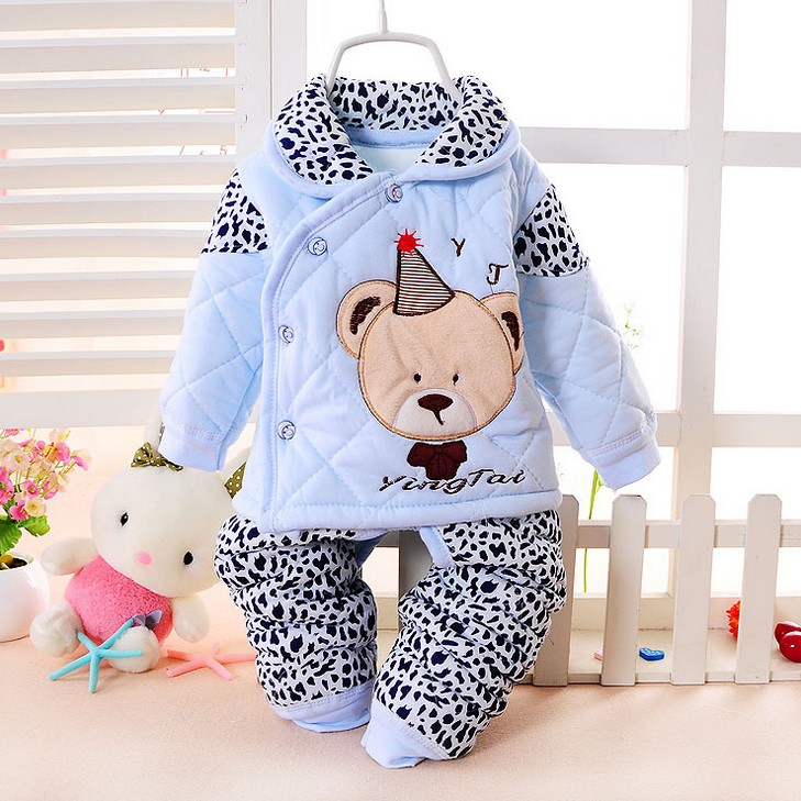 Hot baby winter clothes newborn baby clothes set carton bear baby boy clothes infant baby girl clothes pants set TZ23