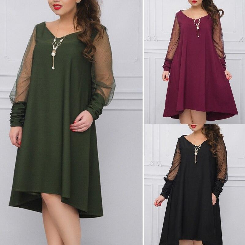 Loose Vintage Plus Big size Spring Dress Sexy Mesh Dress Sheer Elegant Party Dress