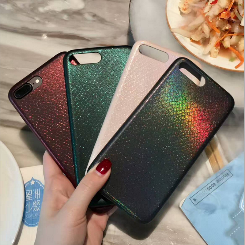 diy hot fashion cool pu leather Python snake skin style glare TPU gel sfot case for iphone 6 6s 6plus 7 7plus phone cases cover