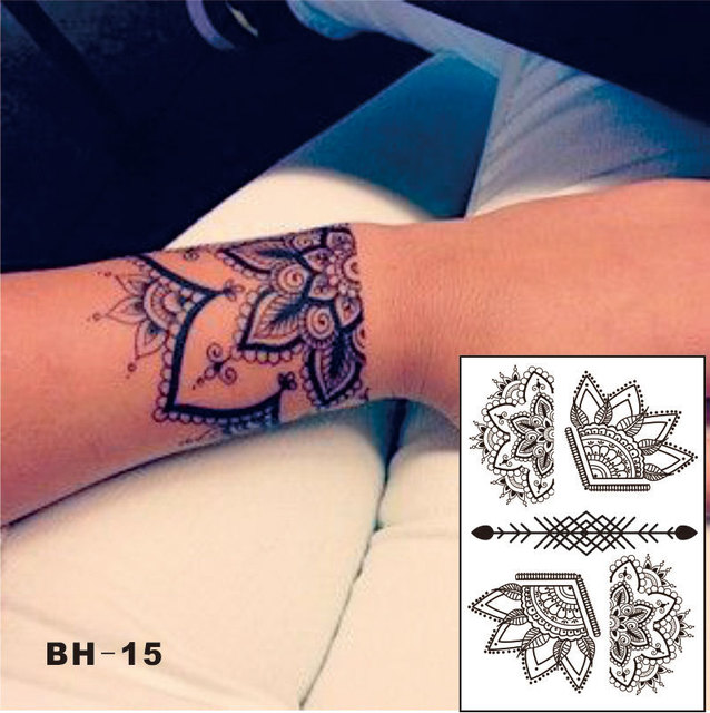 bh 15 sch ne halben lotus schwarz henna tattoo mit pfeil muster inspiriert k rper aufkleber in. Black Bedroom Furniture Sets. Home Design Ideas