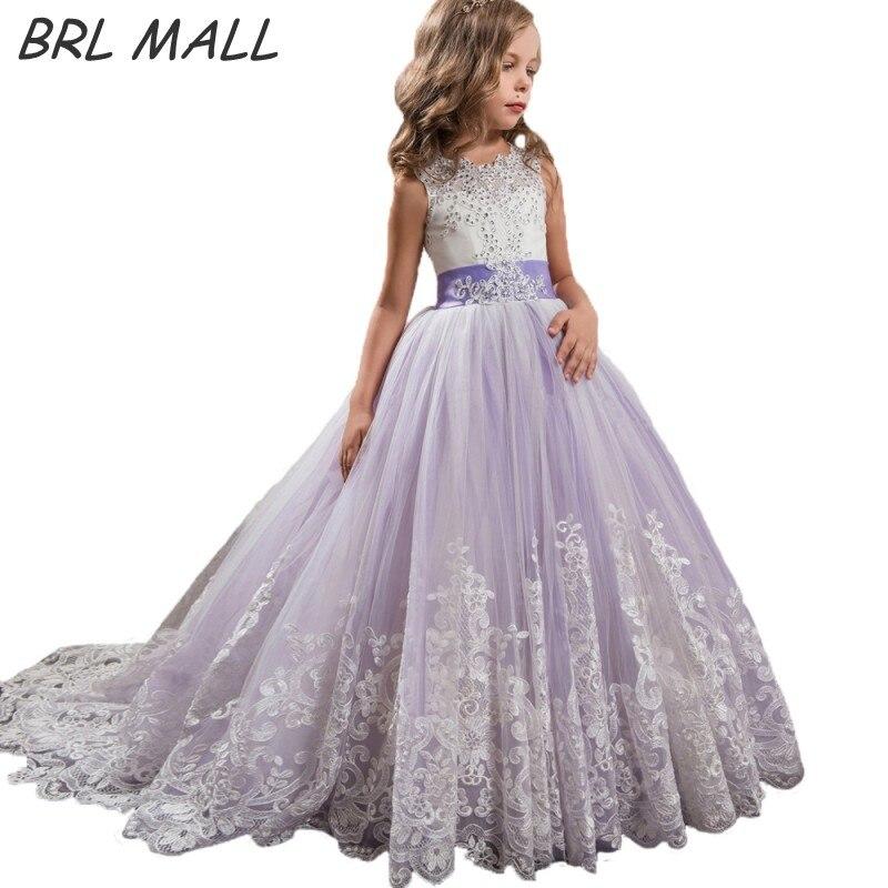 Beautiful Light Purple Flower girl Dress with Bow Beaded Kids Ball ...